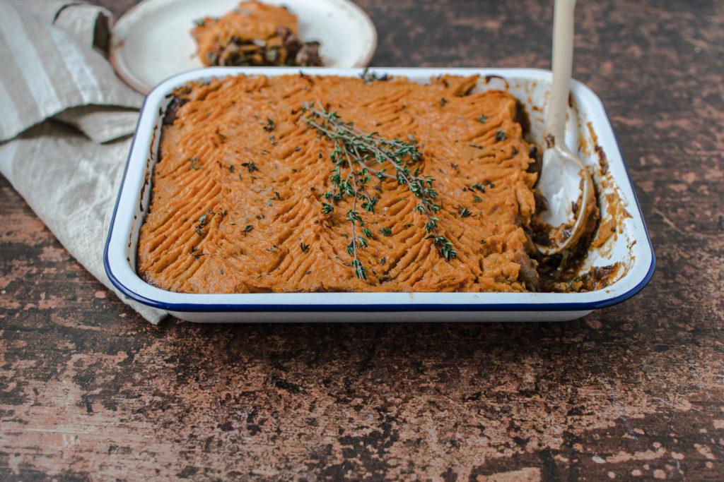 lentils and sweet potato shepherd's pie bake
